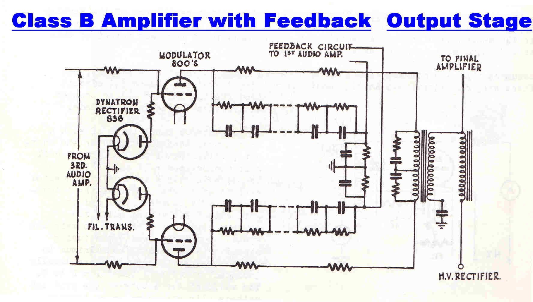 Amplitudemodulation Onetube Transmitter Schematic Diagrams And Circuit Descriptions The Of A Class B High Power Audio Amplifier Used For Level Plate Modulation In An Am Is Shown On Right